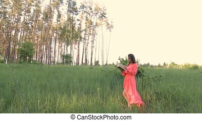 A girl in an evening dress in a meadow reading a book - A...
