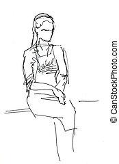 girl in apron sits on the windowsill