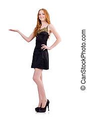 A girl in elegant black mini dress isolated on white