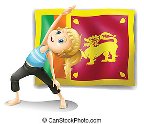 A girl in front of the flag of Sri Lanka