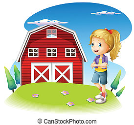 A girl in front of the red barnhouse in the hilltop -...