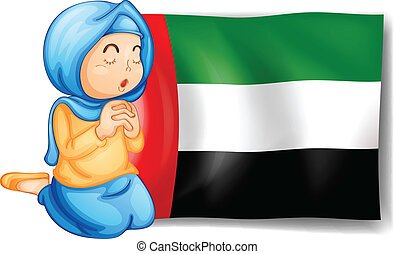 A girl in front of the United Arab Emirates flag -...