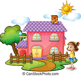 Illustration of a girl in front of their house on a white background