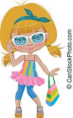 A girl in  glasses