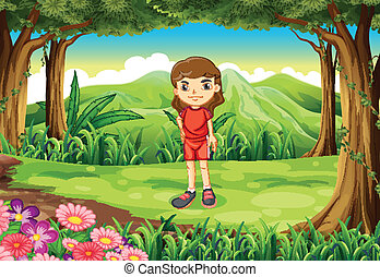 A girl in her red uniform standing at the forest