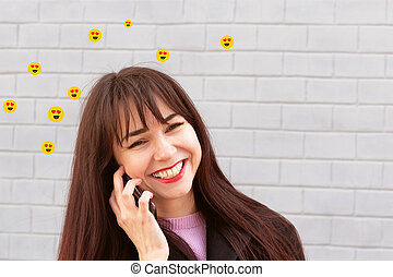 a girl in love talking on the phone