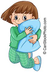 A Girl in Pajamas Hugging Pillow