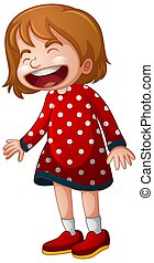 A girl in red dress laughing on white background