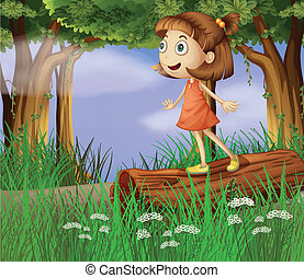 A girl in the forest - Illustration of a girl in the forest...