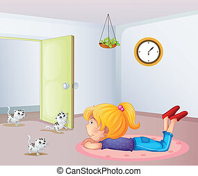 A girl inside a room with cats