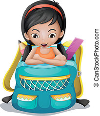 A girl inside a school bag - Illustration of a girl inside a...