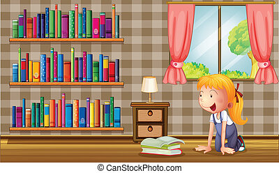 A girl inside the house with many books