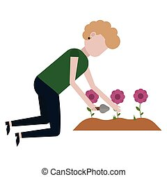 A girl is cleaning on a flower bed vector illustration on...