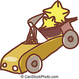 A girl is driving with star