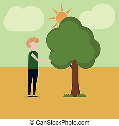 A girl is standing near a tree