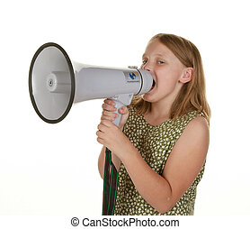 a girl isolated on white with megaphone