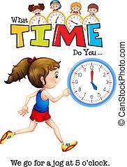 A girl jogging at 5 o'clock