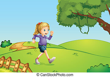 A girl jogging at the hill