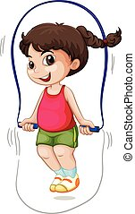 A girl jump the rope