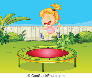 A girl jumping on a trampoline - Illustration of a girl...