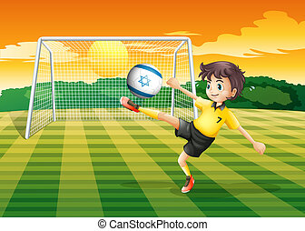 A girl kicking the ball with the Israel flag