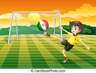 A girl kicking the ball with the Mexico flag