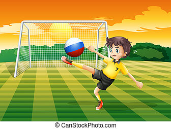 A girl kicking the ball with the Russian flag