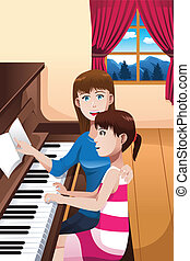A girl learning to play a piano - A vector illustration of...
