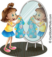 A girl looking at the mirror with her dress