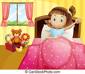 A girl lying in her bed with a pink blanket - Illustration...