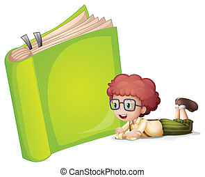 A girl lying near a book