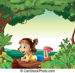 A girl lying on a wood