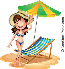 A girl near a foldable beach bed and umbrella - Illustration...