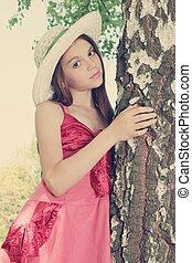 a girl near birch