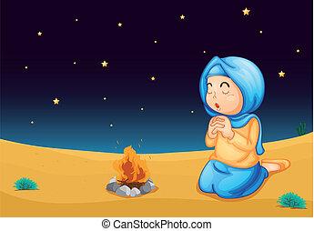 a girl near fire