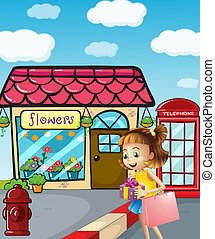 A girl near the flowershop holding a bag and a gift -...