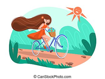 A girl on a bicycle, a red dress, a basket of flowers and flying long hair. Cheerful summer illustration girl riding a bike