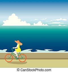 A girl on a bicycle rides along the sea shore. Vector illustrati