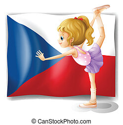 A girl performing ballet in front of the Czech Republic flag
