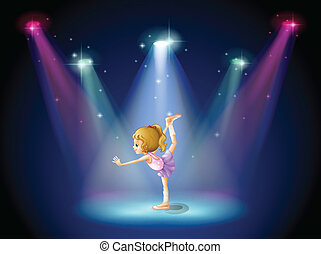 A girl performing ballet on the stage with spotlights