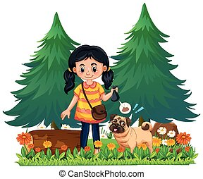 A Girl Pick Up Dog Poop illustration