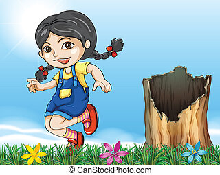 A girl playing beside the stump