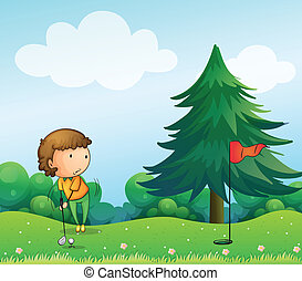 A girl playing golf in the hill