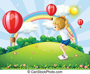 Illustration of a girl playing in the hill with floating balloons