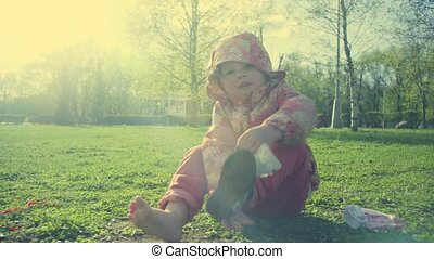 A girl playing in the park