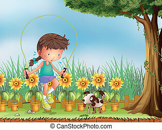 A girl playing jumping rope with a dog - Illustration of a...