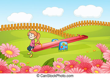 A girl playing on a seesaw