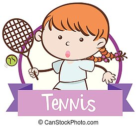 A Girl Playing Tennis on White Background
