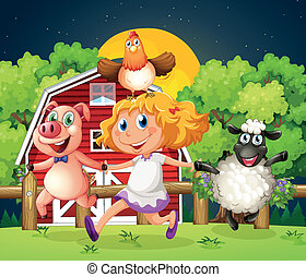 A girl playing with the farm animals