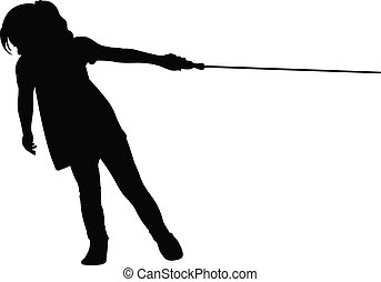a girl pulling rope, tug-of-war , silhouette vector